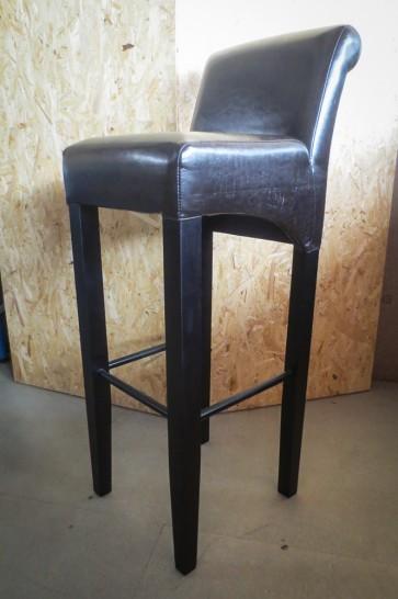 Barhocker, Ledersitz mit Rückenlehne, Holz, dunkelbraun