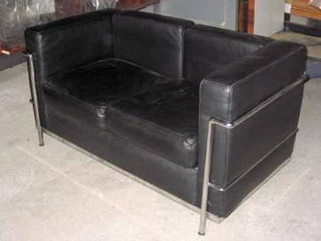 Sofa, 2er, LeCorbusier, schwarz ,Leder