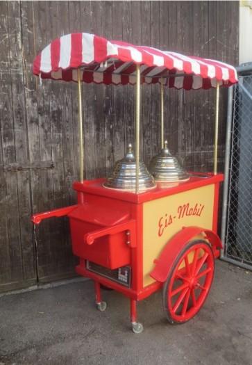 Eiswagen rot/beige Antiklook mit Schirm