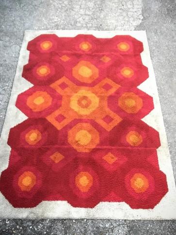 Teppich, Flokati, groß, rot, orange, weiß