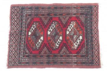Teppich, Orientteppich, rot schwarz Fransen weiß