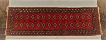 Teppich, Orientteppich, rot schwarz Fransen weiß, Läufer