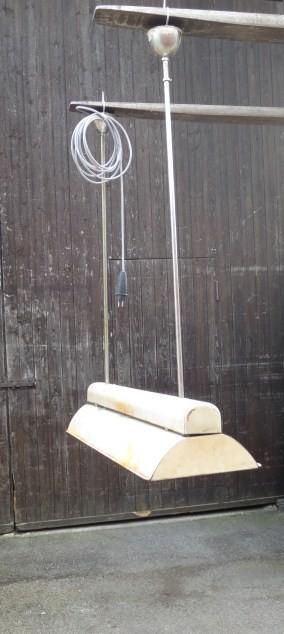 Lampe,  Hängelampe aus Blech, Metall, beige, Patina