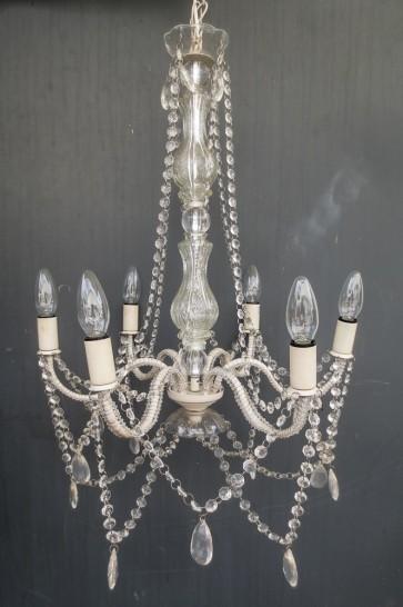 Kronleuchter, Metall, weiß, Glasornamente