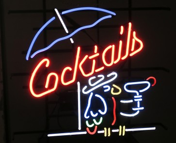 Neonleuchte Cocktails, Glas
