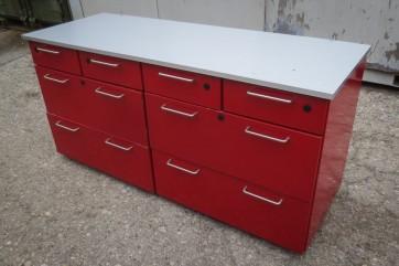 Sideboard, Kommode, Edelstahl, rot, 8 Schubladen
