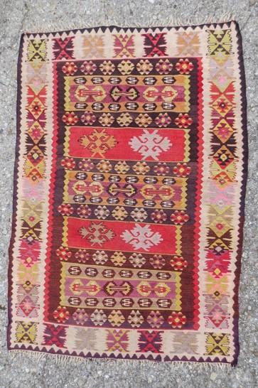 Teppich, Kelimtteppich, Rot, Zackenmuster