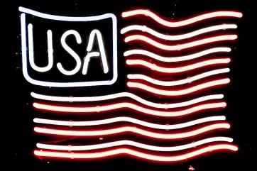 Neonleuchte, USA Fahne