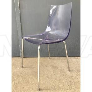 Stuhl, Sitzschale, Acrylglas, Chromfüße