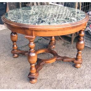 Tisch, Wohnzimmertisch, Holzgestell, Marmorplatte, rund