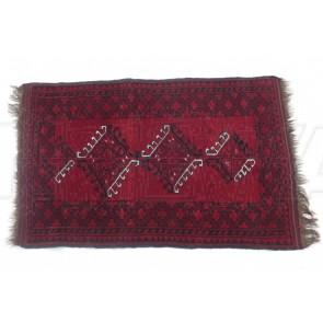 Teppich, Orientteppich, rot schwarz Fransen braun